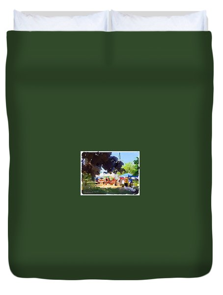 Tents And Church Steeple At Rockport Farmers Market Duvet Cover