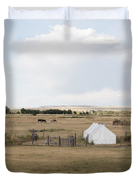 Duvet Cover featuring the photograph Tents At Fort Laramie National Historic Site In Goshen County by Carol M Highsmith