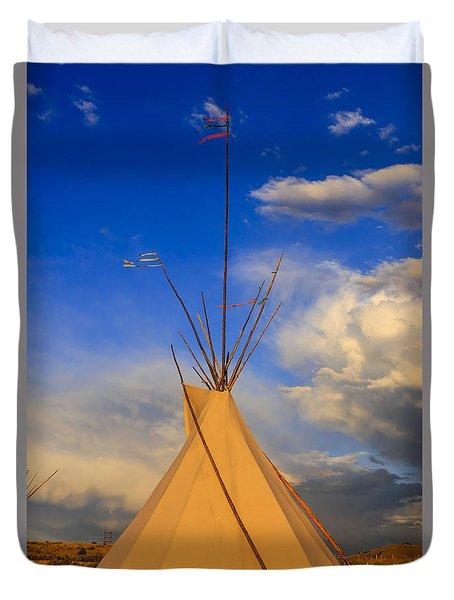 Tepee At Sunset In Montana Duvet Cover