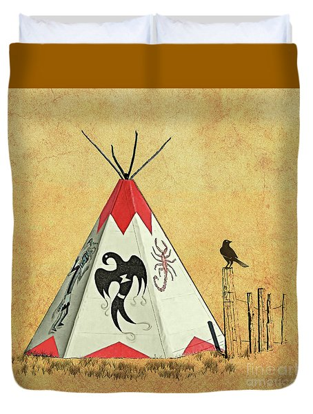 Teepee - Native American Symbols Duvet Cover