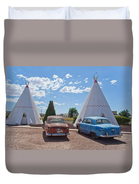 Tepee With Old Cars Duvet Cover