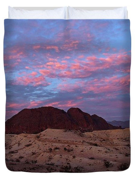 Duvet Cover featuring the painting Terlingua Sunset by Dennis Ciscel