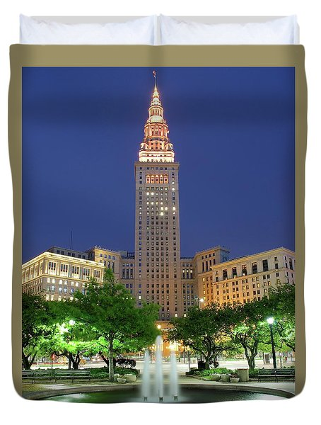Terminal Tower Duvet Cover by Frozen in Time Fine Art Photography