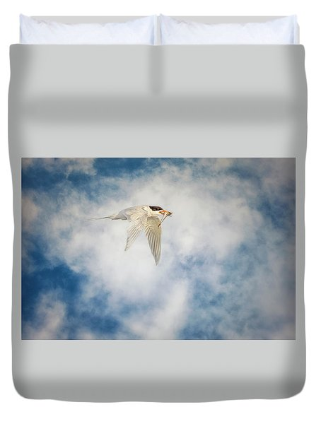 Tern In Flight With Fish Duvet Cover