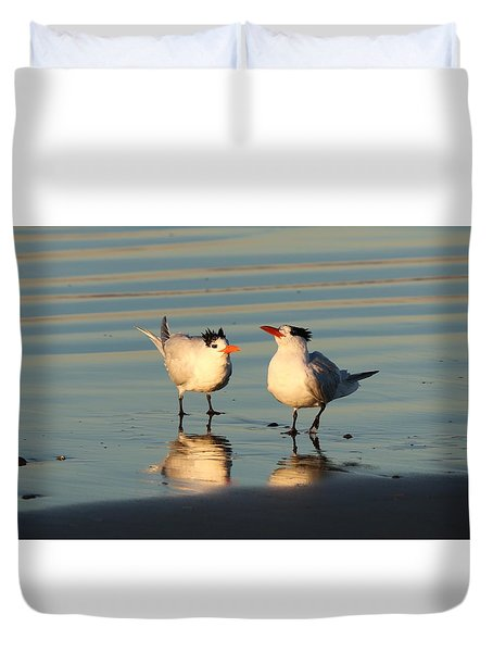 Terns On The Beach  Duvet Cover