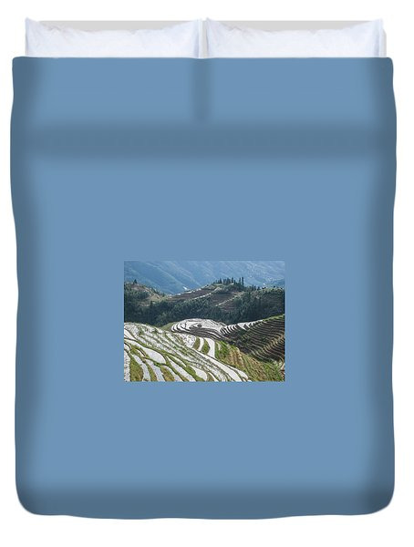 Duvet Cover featuring the photograph Terrace Fields Scenery In Spring by Carl Ning