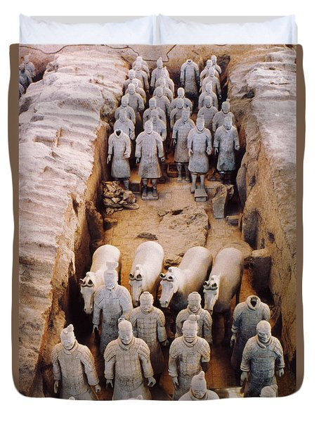 Duvet Cover featuring the photograph Terracotta Army by Heiko Koehrer-Wagner