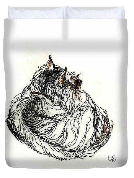 Terrier Sleeping - 1 Duvet Cover by Shirley Heyn