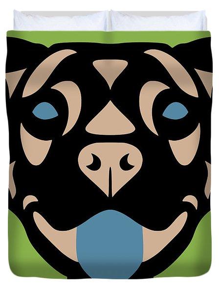 Terrier Terry - Dog Design - Greenery, Hazelnut, Niagara Blue Duvet Cover