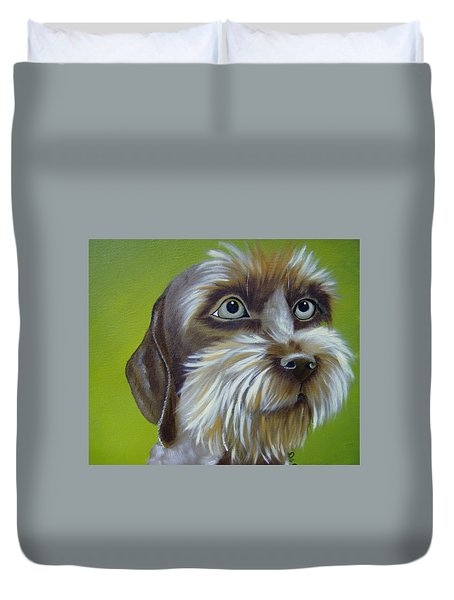 Terrier Waiting Patiently Duvet Cover