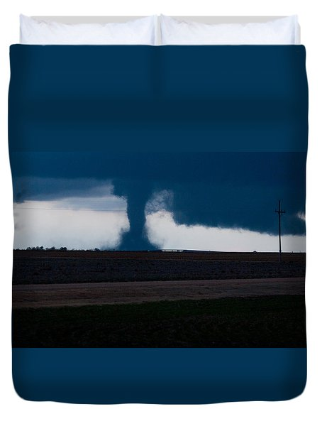 Duvet Cover featuring the photograph Terror On The Horizon In Western Kansas by Shirley Heier