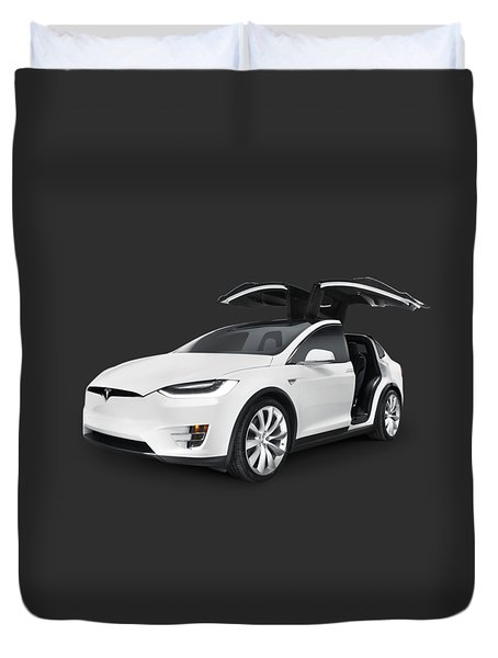 Tesla Model X Luxury Suv Electric Car With Open Falcon-wing Doors Art Photo Print Duvet Cover
