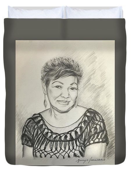 Duvet Cover featuring the drawing Tessie Guinto  by Rosencruz  Sumera