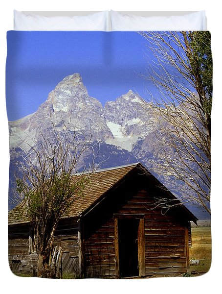 Teton Cabin Duvet Cover by Marty Koch