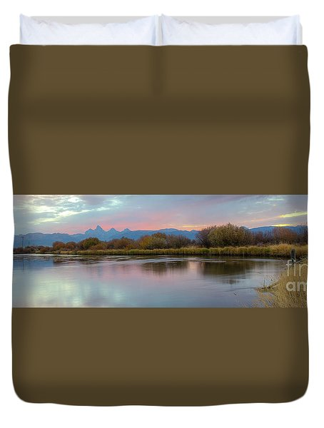 Teton Dawn Pano Duvet Cover
