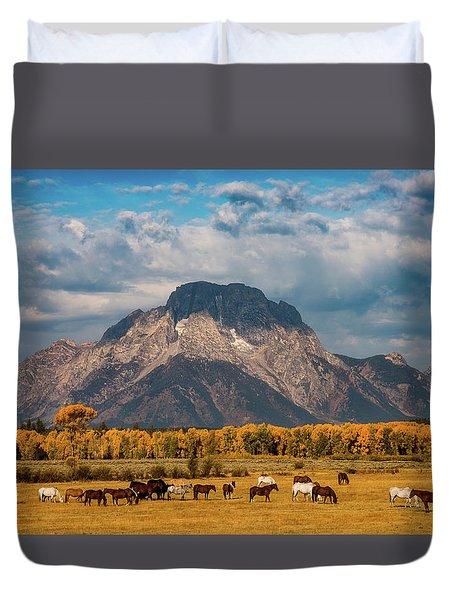 Teton Horse Ranch Duvet Cover by Darren White