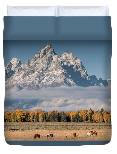 Duvet Cover featuring the photograph Teton Horses by Wesley Aston