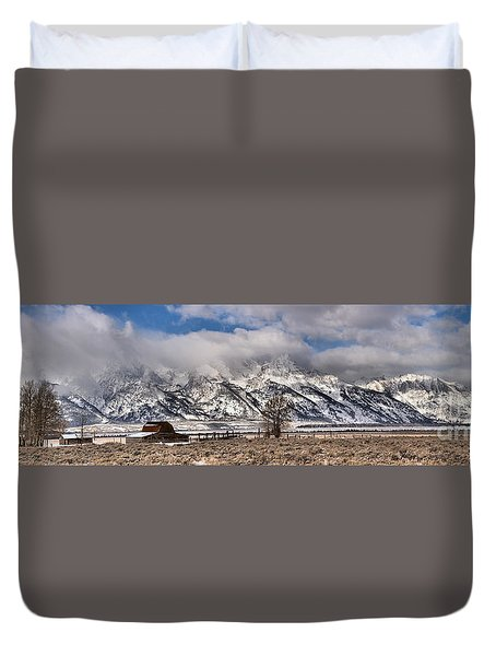 Duvet Cover featuring the photograph Teton Mormon Homestead Panorama by Adam Jewell