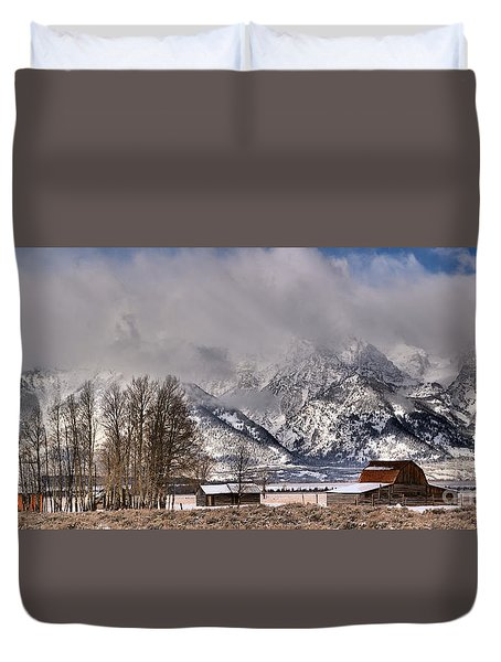 Duvet Cover featuring the photograph Teton Mormon Row Panorama by Adam Jewell