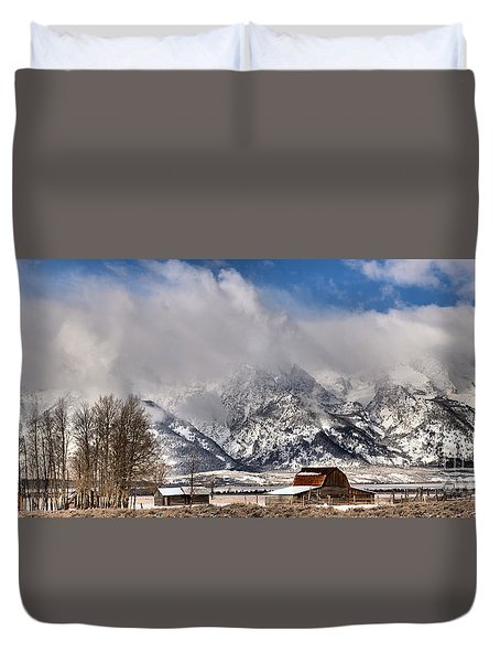 Duvet Cover featuring the photograph Teton Mountains Over Mormon Row by Adam Jewell