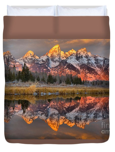Teton Mountains Sunrise Rainbow Duvet Cover by Adam Jewell