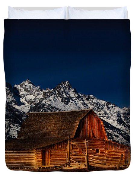 Teton Mountains With Barn Duvet Cover