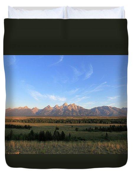 Teton Range After Sunrise Duvet Cover
