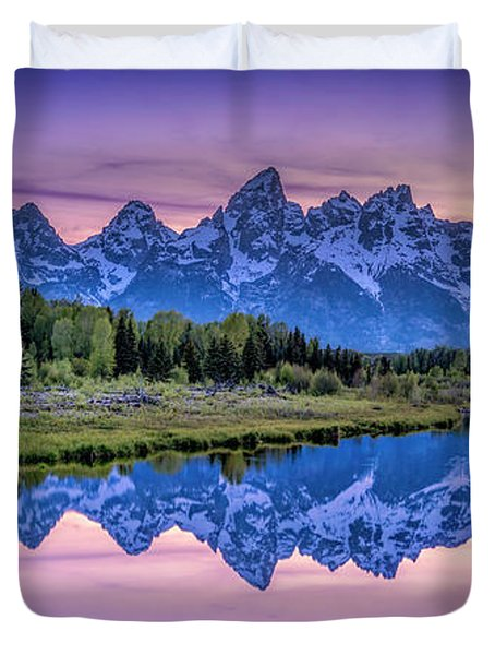 Sunset Teton Reflection Duvet Cover