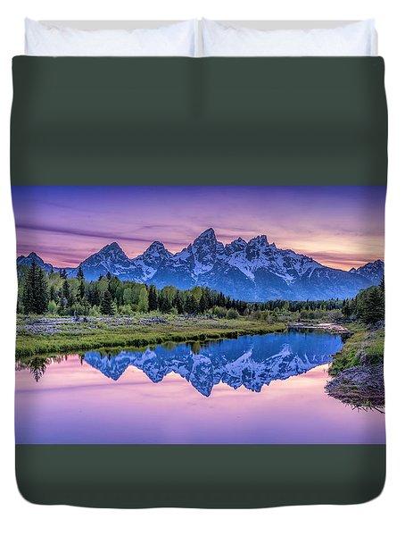 Sunset Teton Reflection Duvet Cover