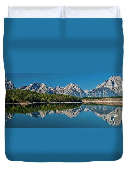 Duvet Cover featuring the photograph Teton Reflections by Gary Lengyel