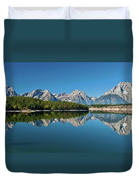 Duvet Cover featuring the photograph Teton Reflections II by Gary Lengyel