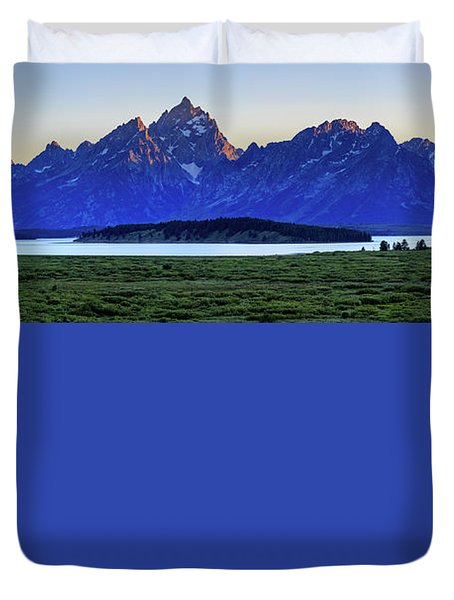 Duvet Cover featuring the photograph Teton Sunset by David Chandler