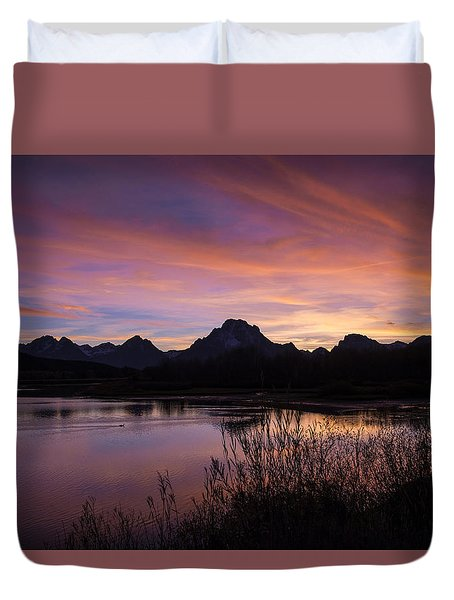 Duvet Cover featuring the photograph Teton Sunset by Gary Lengyel