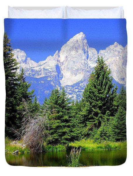 Tetons 3 Duvet Cover by Marty Koch