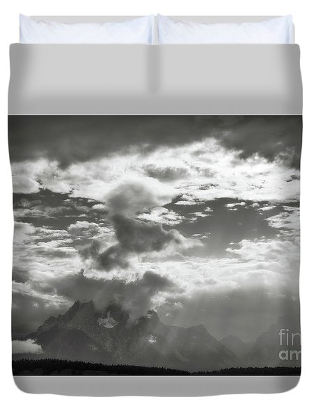 Tetons And Storm Clouds Duvet Cover