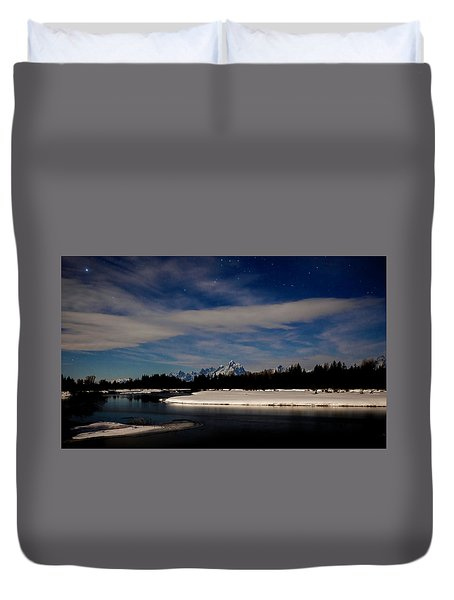 Tetons At Moonlight Duvet Cover