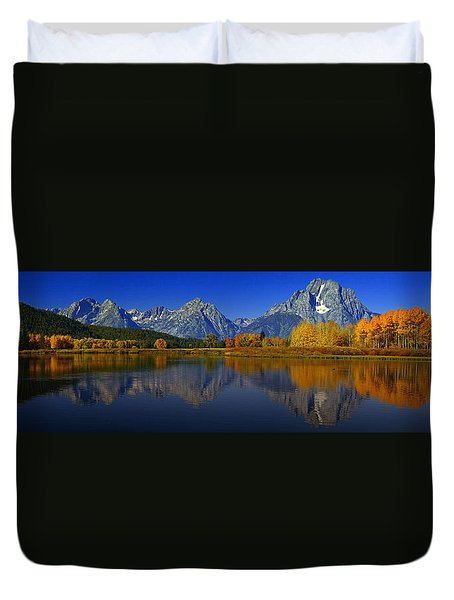 Tetons From Oxbow Bend Duvet Cover by Raymond Salani III
