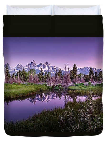 Tetons In Pink Duvet Cover