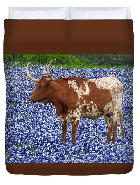 Da227 Tex And The Bluebonnets Daniel Adams Duvet Cover
