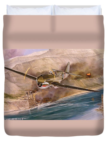 Tex Hill Over The Salween Gorge Duvet Cover by Marc Stewart