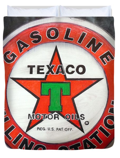 Texaco Sign Duvet Cover