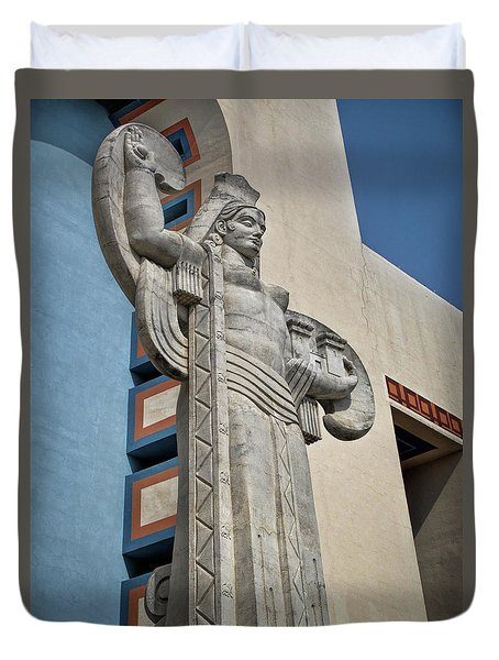 Duvet Cover featuring the photograph Texas Art Deco Sculpture by David and Carol Kelly