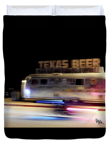 Texas Beer Fast Motorcycle #5594 Duvet Cover by Barbara Tristan