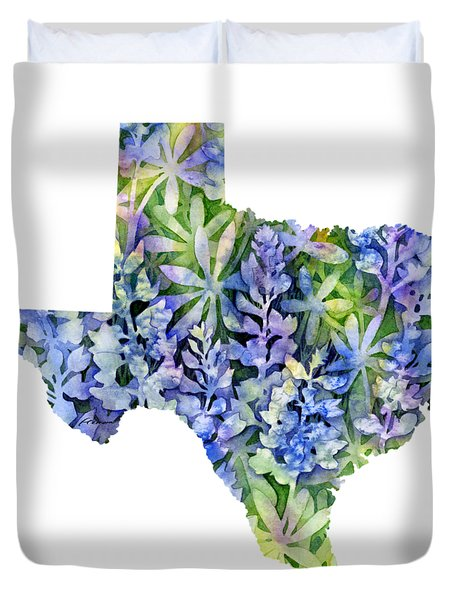 Texas Blue Texas Map On White Duvet Cover