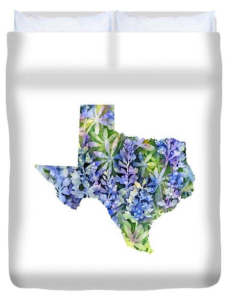 Texas Blue Texas Map On White Duvet Cover