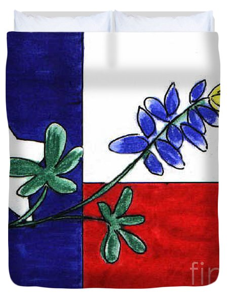 Duvet Cover featuring the drawing Texas Bluebonnet by Vonda Lawson-Rosa