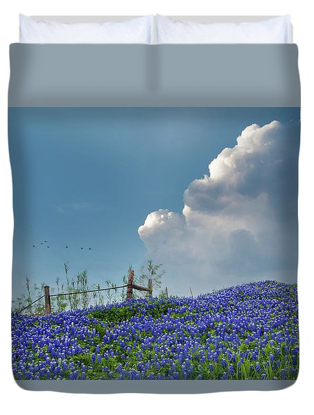 Duvet Cover featuring the photograph Texas Bluebonnets And Spring Showers by David and Carol Kelly