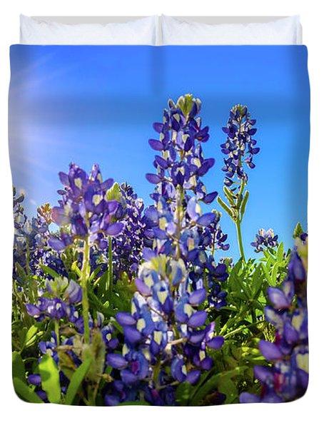 Texas Bluebonnets Backlit II Duvet Cover