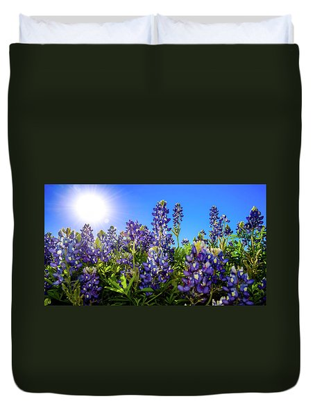 Texas Bluebonnets Backlit II Duvet Cover