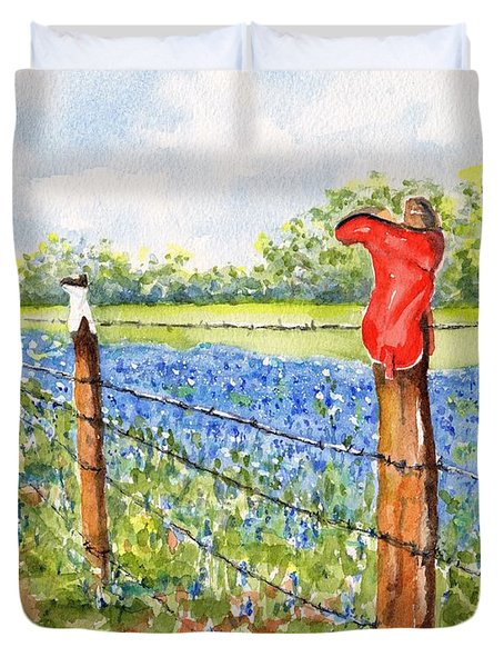 Texas Bluebonnets Boot Fence Duvet Cover
